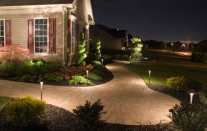 Home with outdoor lighting example. Moore's Irrigation Landscape Lighting services in Omaha