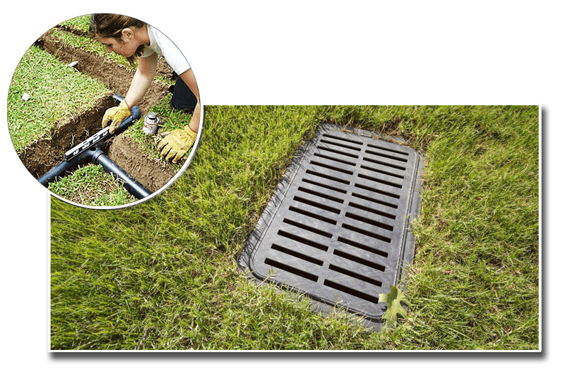 person with a level checking drainage pipes overlaying a french drain image.