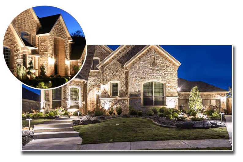 Two stone faced homes with decorative landscape lighting my Moore's Omaha