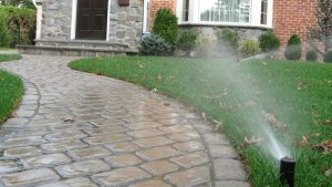 Lawn sprinkler heads watering a lawn showing front of a house and walway to the fronter Door. Moore's irrigation service in Omaha