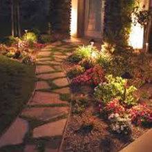 decorative walkway with landscape lighting at night. Moore's Landscape Lighting in Omaha