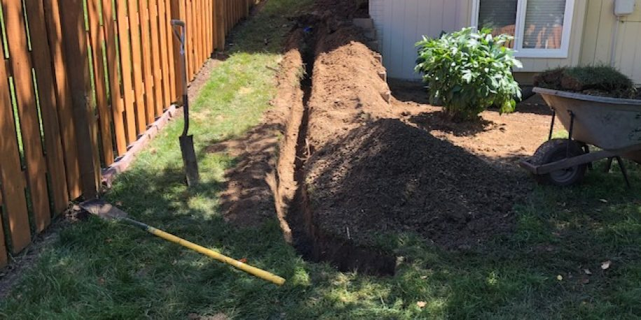 Trenching for Underground Piping Drainage