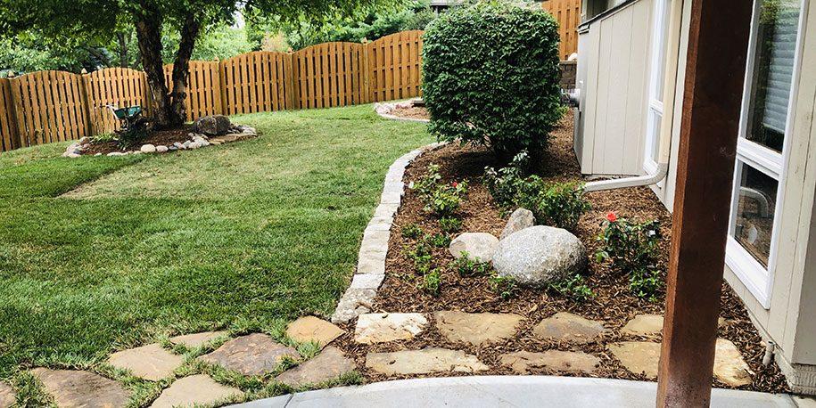Landscape after property drainage work | Moores irrigation and Landscape Lighting